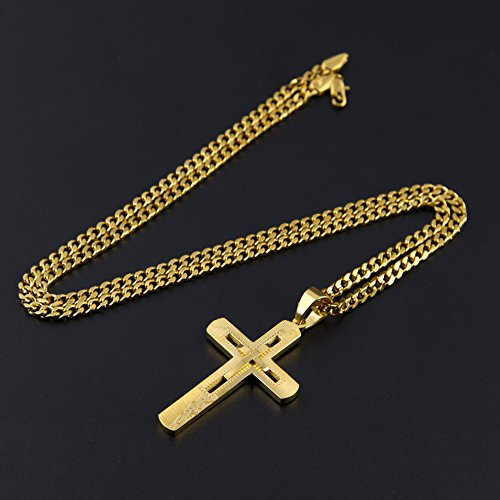 Daya classic 18k gold cross pendant chain necklace for men miami previous next aloadofball Image collections