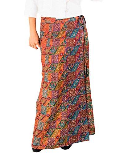 ThaiOnline4u Women's Maxi Skirts Cotton Wrap Boho Hippy Batik A-Line Full Length and Adjustable (Floral - Cotton Batik Wrap