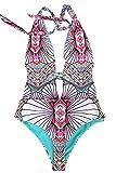 Cupshe Fashion Women's Petal Printing Plunging Halter Padding Swimsuit ,Multicolor,Medium