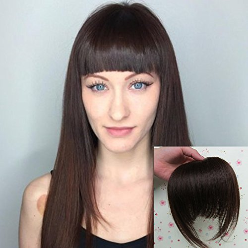 Human Hair Blunt Bangs with Temple Dark Brown Handmade Clip In Hair Fringe Extension (In Extensions Hair Bangs Clip)