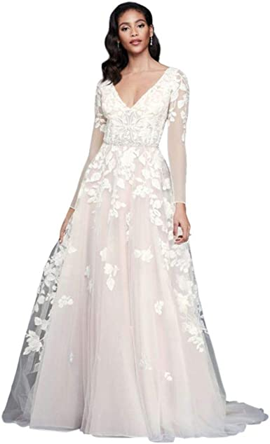 David S Bridal Illusion Sleeve Plunging Ball Gown Wedding Dress