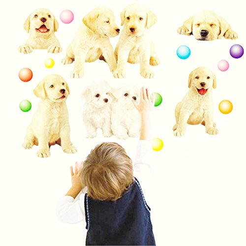 3D Vivid Wall Windows Cute Dogs Puppy Decal