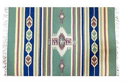 iinfinize - 2x3' Indian Cotton Reversible Rug Green Carpet Turkish Kilim Rug Floor Runner Dhurrie Gorgeous Mat Yoga Mat Beautiful Floor Runner Cotton Rug Decor Throw Dhurries Decorative Mat Home Decor