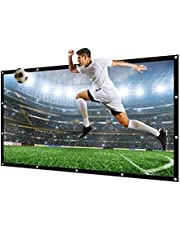 NIERBO Projector Screen 100 Inch of Canvas Materials 16:9 Diagonal Portable Projection Screen for Indoor Outdoor Support Front and Rear Projection 1.6 Gain
