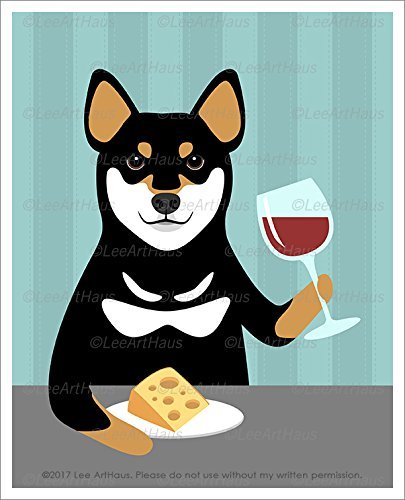 - 415D - Black and Tan Shiba Inu Dog Drinking Wine and Eating Cheese UNFRAMED Wall Art Print by Lee ArtHaus