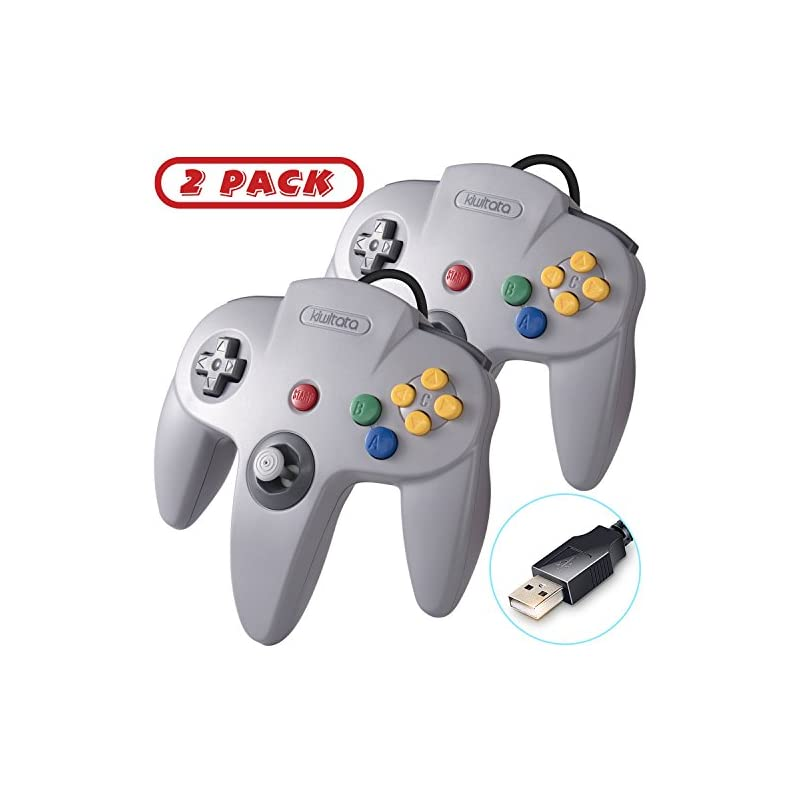 2 Pack Retro N64 Classic USB Controller,kiwitatá N64 Bit USB Wired PC  Controller Game Pad for Windows PC Mac Linux Retro Pie Gray