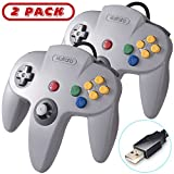2 Pack Retro Classic N64 USB Controller Game Pad, kiwitatá N64 Bit USB PC Wired Game Controllers Joystick for Windows PC and Mac Linux Retro Pie Gray