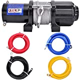DCFlat 12V 4500LBS Wire Rope Electric Winch for Towing ATV/UTV/Boat Off Road with Mounting Bracket Wireless Remote Control (4500LBS) (2)