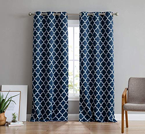HLC.ME Lattice Print Thermal Insulated Room Darkening Blackout Window Curtain Panels for Living Room - Set of 2-37 W x 84 L - Navy Blue
