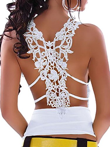 Choies Women's White Deep V Neck Ruched Strappy Lace Back Lace Tight Vest