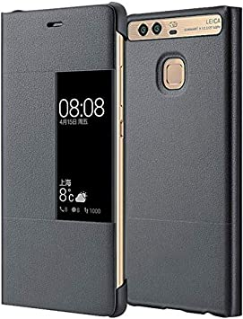 MOONCASE Funda Carcasa Cuero Tapa View Case para Huawei P9 Gris ...