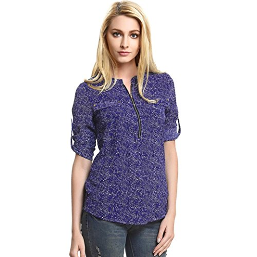 Lisingtool Women Chiffon Stripe Long Sleeve Casual Blouse Tops (M)