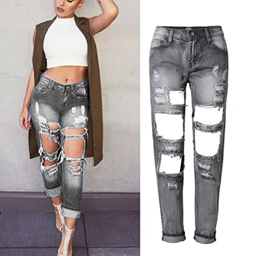 Zhuhaitf Ventas calientes Hole BF Style Cowboy Long Pants Beggar Pants Personality for Women Gray
