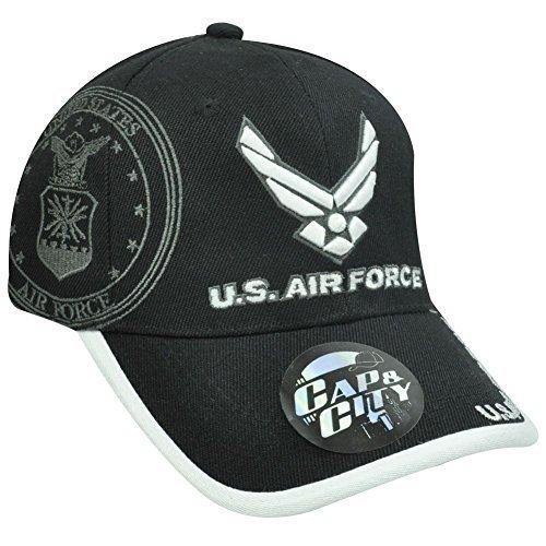 US AIR FORCE MILITARY SEAL LICENSED BLACK WHITE HAT CAP