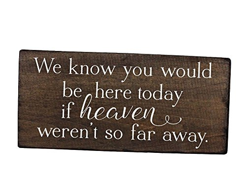 We know you would be here today sign if heaven wasn't so far away sign rustic wedding decor in loving memory sign wedding remembrance sign (Know Sign)