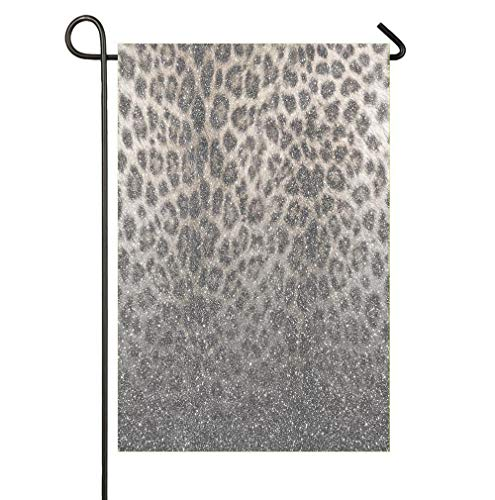 Garden Flag Outdoor House Yard Flag Double Sided 12 x 18 Inches Indoor Banner Party Decor - Shimmer Snow Leopard Glitter Abstract