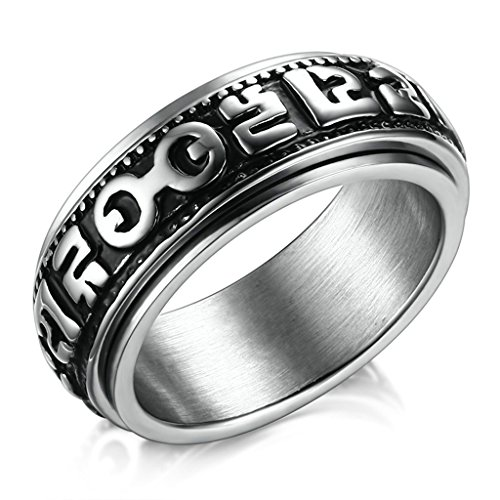 MoAndy 8MM Men Stainless Steel Silver High Polished Spinner Om Mani Padme Hum Buddhist Rings Size 7