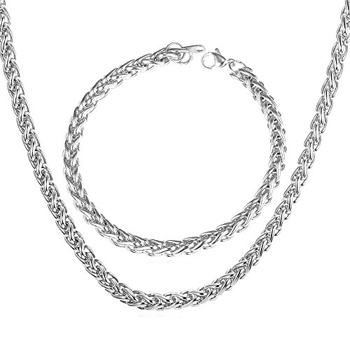 Twisted Spiga Chain 6mm Men Women Stainless Steel Necklace Bracelet Set (18