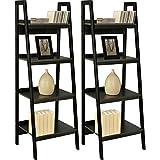 Altra Black Ladder Frame Bookcases (Set of 2) Sturdy Metal Frame