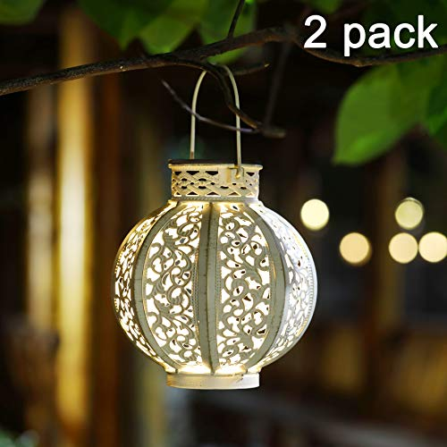 MAGGIFT 2 Pack Hanging Solar Lights Outdoor Solar Lights Retro Hanging Solar Lantern with Handle, 4 Lumens, White]()