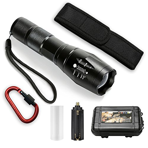Flashlight Torch Holster - Tactical Flashlight ,5 Light Modes Zoomable 800 Lumens Ultra Bright Torch Light, Waterproof with Holster for Camping, Hiking, Cycling and Emergency