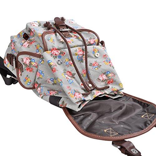 Epokris Gray Backpack for Girls Floral Backpack Book Bag for Girls Daypack Flower Backpack for little Girls 163GY