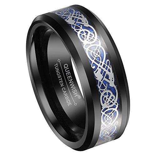 Queenwish 8mm Black Tungsten Carbide Ring Silvering Celtic Dragon Blue Carbon Fibre Wedding Band Size 9 (Blue Dragon Wedding Rings)