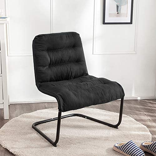 Zenree Comfy Bedroom Reading Chairs, Living Room Lounge Chair for Guest s Room Apartment, Colleage Dorm, Teen s Room, Padded Seat Black