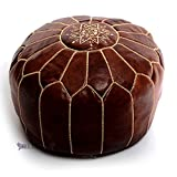 Stuffed Moroccan Dark Tan Leather Poufs, Handmade Leather Ottoman Pouffe, Hassock, Tuffet, Foot Stool, Seating Foot Rest