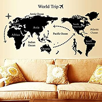 Soledi removable world travel map design wall decals vinyl black soledi removable world travel map design wall decals vinyl black wall sticker mural home living room gumiabroncs Image collections