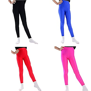 f52b44fd84b815 1 or 3 Pairs Assorted Girls Shiny Neon Dance Tights Disco Leggings - Ages 5-