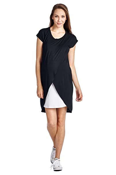 1bfe04bed2035 Hello MIZ Women's Asymmetrical Breastfeeing Maternity Nursing Dress Medium  Black