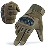 JIUSY Army Tactical Gloves Military Rubber Hard Knuckle Full Finger Gloves for Cycling Motorcycle Hunting Hiking Airsoft Paintball Outdoor Riding Shooting Sports Gear Size Green Large