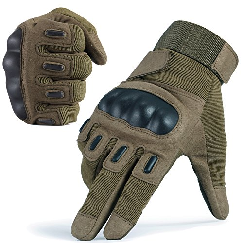 JIUSY Touch Screen Army Tactical Gloves Military Rubber Hard Knuckle Full Finger Gloves for Cycling Motorcycle Hunting Hiking Airsoft Paintball Outdoor Riding Shooting Sports Gear Size Green Large