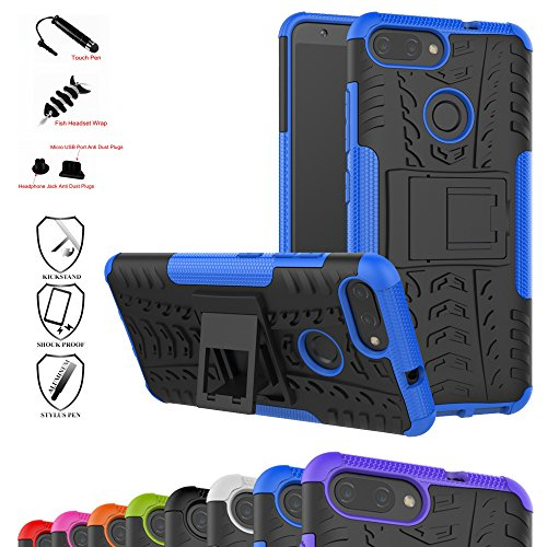 Zenfone Max Plus Case,Mama Mouth Shockproof Heavy Duty Combo Hybrid Rugged Dual Layer Grip Cover with Kickstand for Asus Zenfone Max Plus (M1) ZB570TL (with 4 in 1 Packaged),Blue