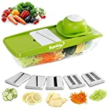 Mandoline Slicer Vegetable Food Cutter with 5 Adjustable Thickness Interchangeable Stainless Steel Blades - Syolee Kitchen Vegetable Julienne Grater for Tomato Potato Carrot Onion Cucumber Cheese