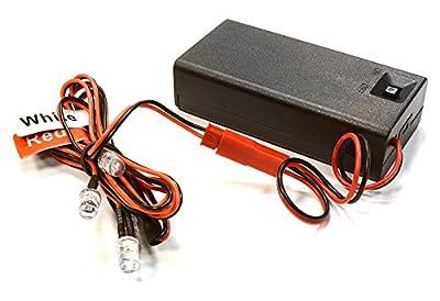 Integy RC Hobby C26352REDWHITE Plastic Battery Box w/ 2pcs Red, 2pcs White 5mm Size LED Light