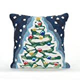 Liora Manne Whimsy Yule Tree Indoor/Outdoor pillow, Midnight -18'' Square