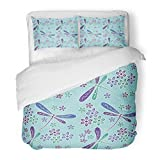 SanChic Duvet Cover Set Blue Dragonfly Indonesia Batik Green Center Floral Flower Java Light Decorative Bedding Set 2 Pillow Shams King Size