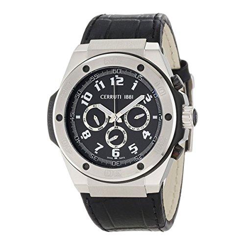 Cerruti 1881 Men's CRA040E222H Black Dial Black Leather Watch