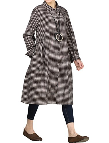 Mordenmiss Women's Check Plaid A-Line Flare Pleated Shirt Dress with Pockets (2XL, Black) - Coat Cotton Size Plus