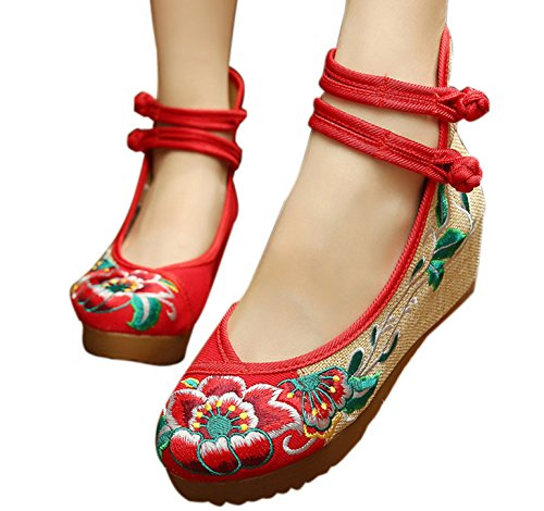 Hibiscus Embroidery (Qhome Women's Hibiscus Embroidery Floral Strappy Round Toe Platform Wedges)