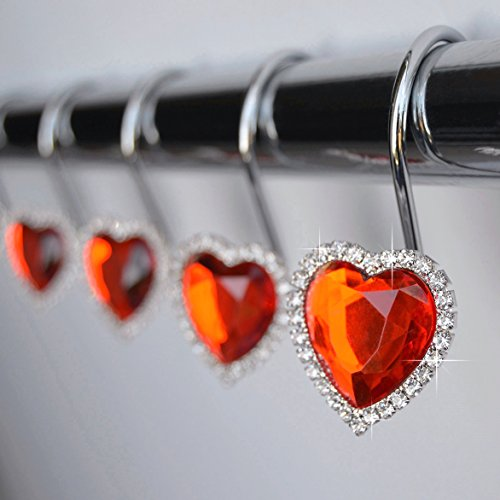 Shower Curtain Hooks Rings - Heart Red Decorative Crystal Diamond Bling Rhinestones Bathroom Bath Set Love Valentine Gift (Red)