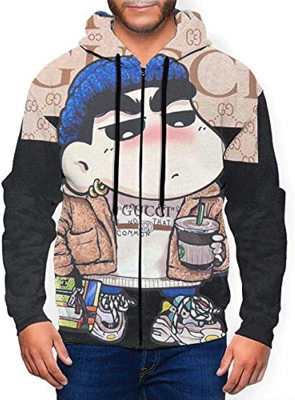 IUBBKI Adult Męskiemode Crayon-shin Chan Klassischer Reißverschluss Cardigan Sweater mit Hut für den Frühling: Odzież