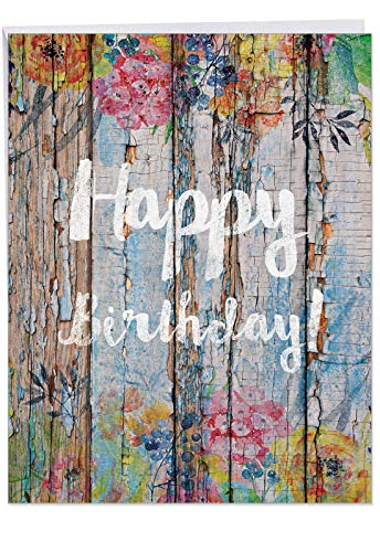 Supersized Birthday Card 'Blooming Driftwood Birthday' with Envelope (Letterhead 8.5 x 11 Inch) - Colorful Driftwood Plank Art with Happy Birthday! Text Greeting Card J6108EBDG
