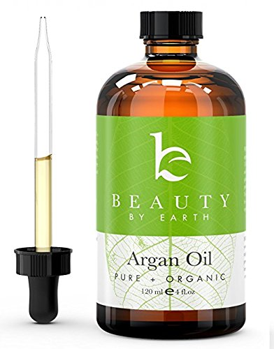 Beauty by Earth USDA Certified Organic Moroccan Argan Oil; Pure Virgin, Cold Pressed Anti-Aging Miracle Beauty Secret for Face, Hair, Nails and Skin Moisturizing for Men and Women; 4 oz