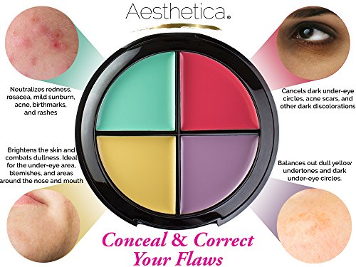Aesthetica Color Correcting Cream Concealer Palette - Conceals Blemishes / Imperfections - Includes Green, Purple, Yellow, Salmon Color Correctors