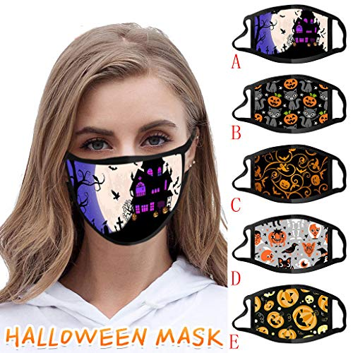 saitingdianzi Adults/Kids Print Reusable Face Màsc Comfortable Face Bandanas for Halloween (D)