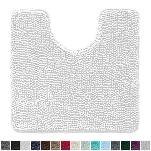 (Gorilla Grip Original Shaggy Chenille Oval U-Shape Contoured Mat for Base of Toilet, 22.5x19.5 Size, Machine Wash and Dry, Soft Plush Absorbent Contour Carpet Mats for Bathroom Toilets)