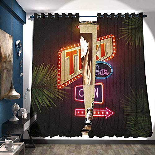 Window Curtain Drape Old Fashioned Neon Signs Illustration of Open Bar Palm Tree Branches Roadside Drapes for Living Room W108 x L96 Multicolor